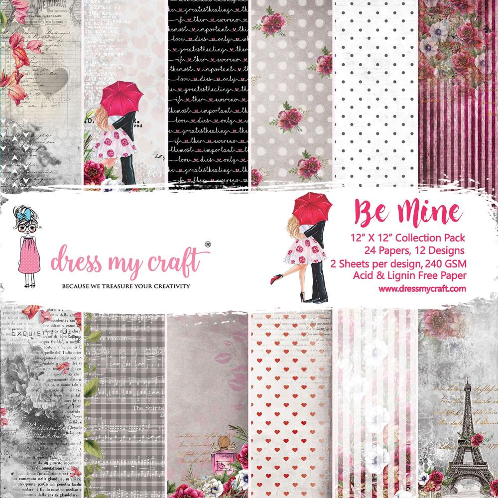 Dress My Crafts Single-Sided Paper Pad 12in X 12in 24 pack - Be Mine