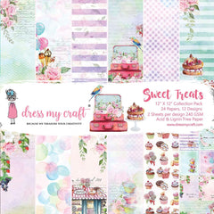 Dress My Crafts Single-Sided Paper Pad 12in X 12in 24 pack - Sweet Treats