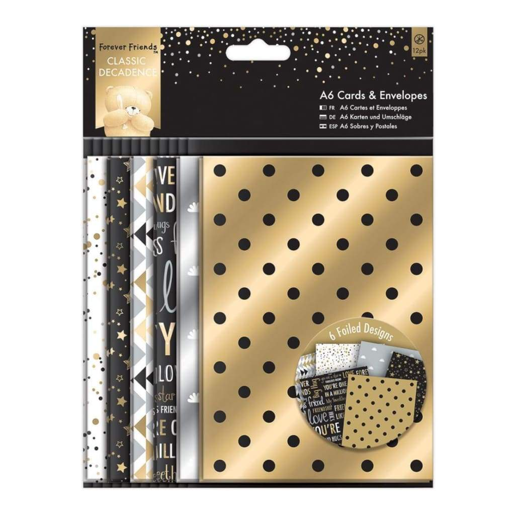 Docrafts - Forever Friends Classic Decadence Cards W/Envelopes A6 12 Pack