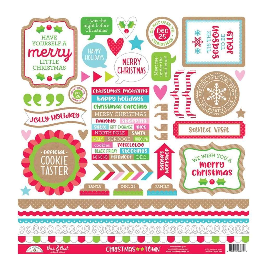 Doodlebug Cardstock Stickers 12 inch X12 inch Christmas Town This & That