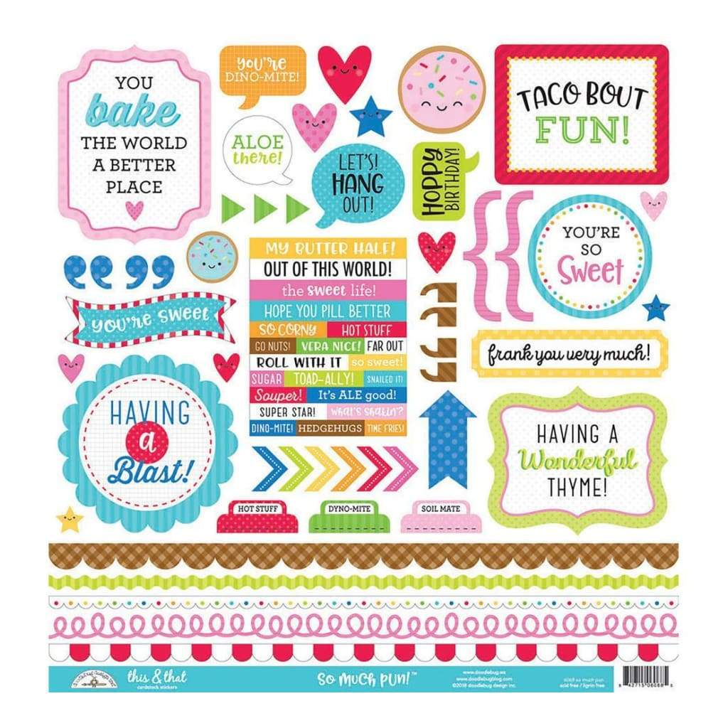 Doodlebug - Cardstock Stickers 12 inch X12 inch So Much Pun This & That