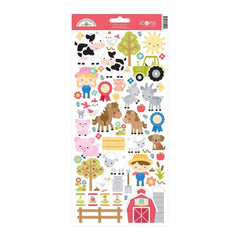 Doodlebug Cardstock Stickers - Down On The Farm Icons