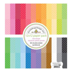 Doodlebug - Petite Prints Double-Sided Cardstock 12 inch X12 inch 24 pack Dot-Stripe Rainbow, 24 Designs/1 Each