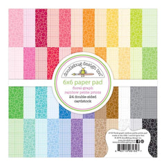 Doodlebug - Petite Prints Double-Sided Paper Pad 6 inch X6 inch 24 pack Floral-Graph Rainbow, 24 Designs/1 Each