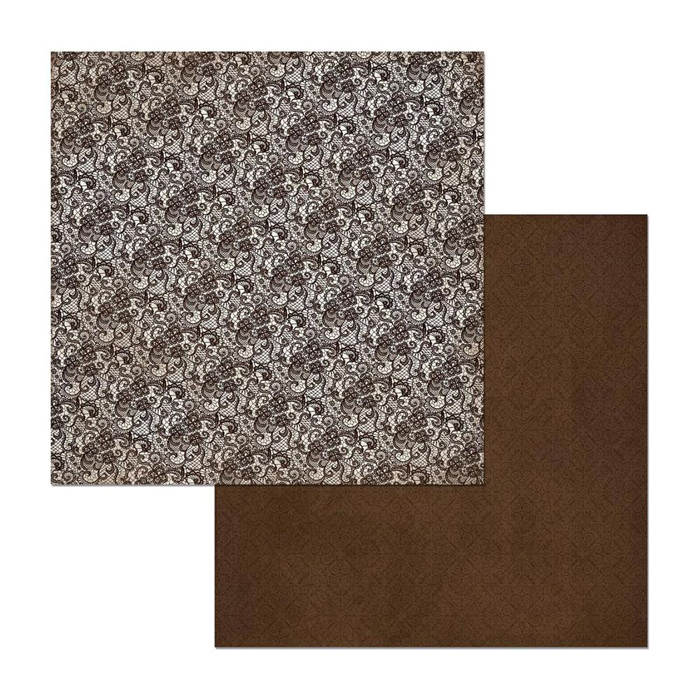 BoBunny - Double Dot Lace Double-Sided Cardstock 12X12in - Coffee