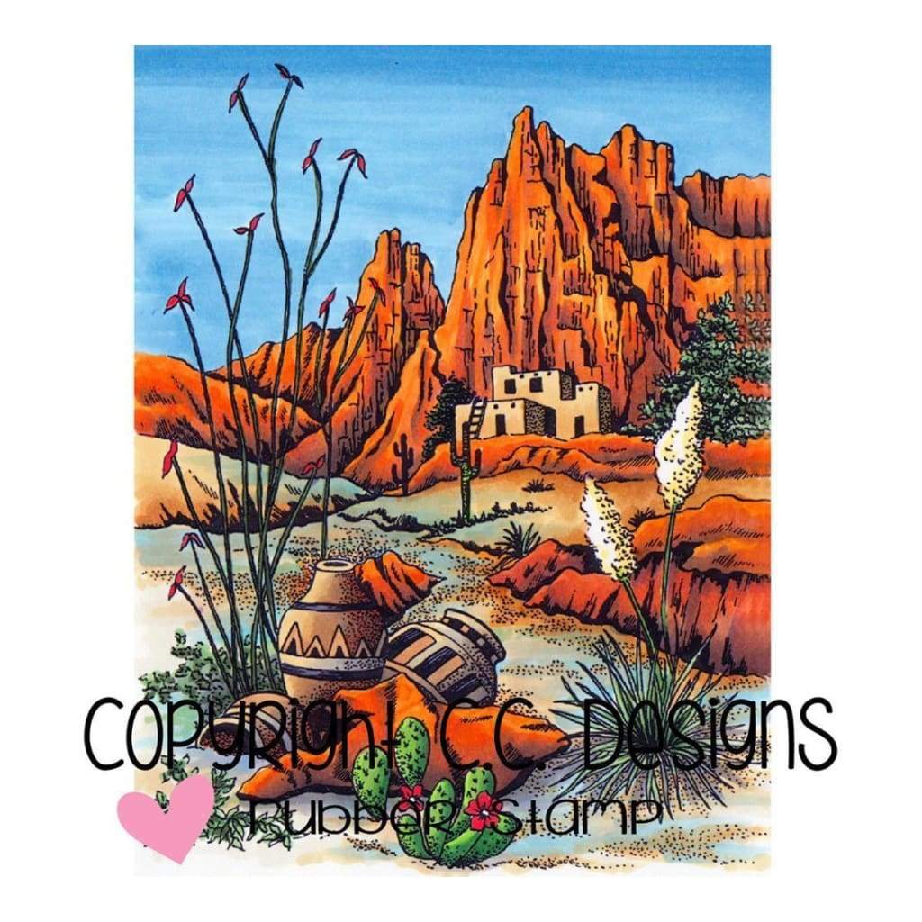 Doveart Cling Stamp 3.75 inch X4.5 inch Southwest Mountain