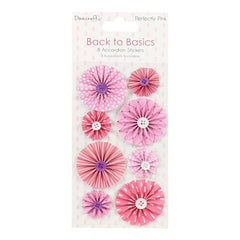 Dovecraft Back To Basics Accordion Stickers 8 pack Perfectly Pink