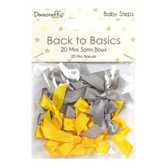 Dovecraft Back To Basics Mini Satin Bows 20 pack Baby Steps