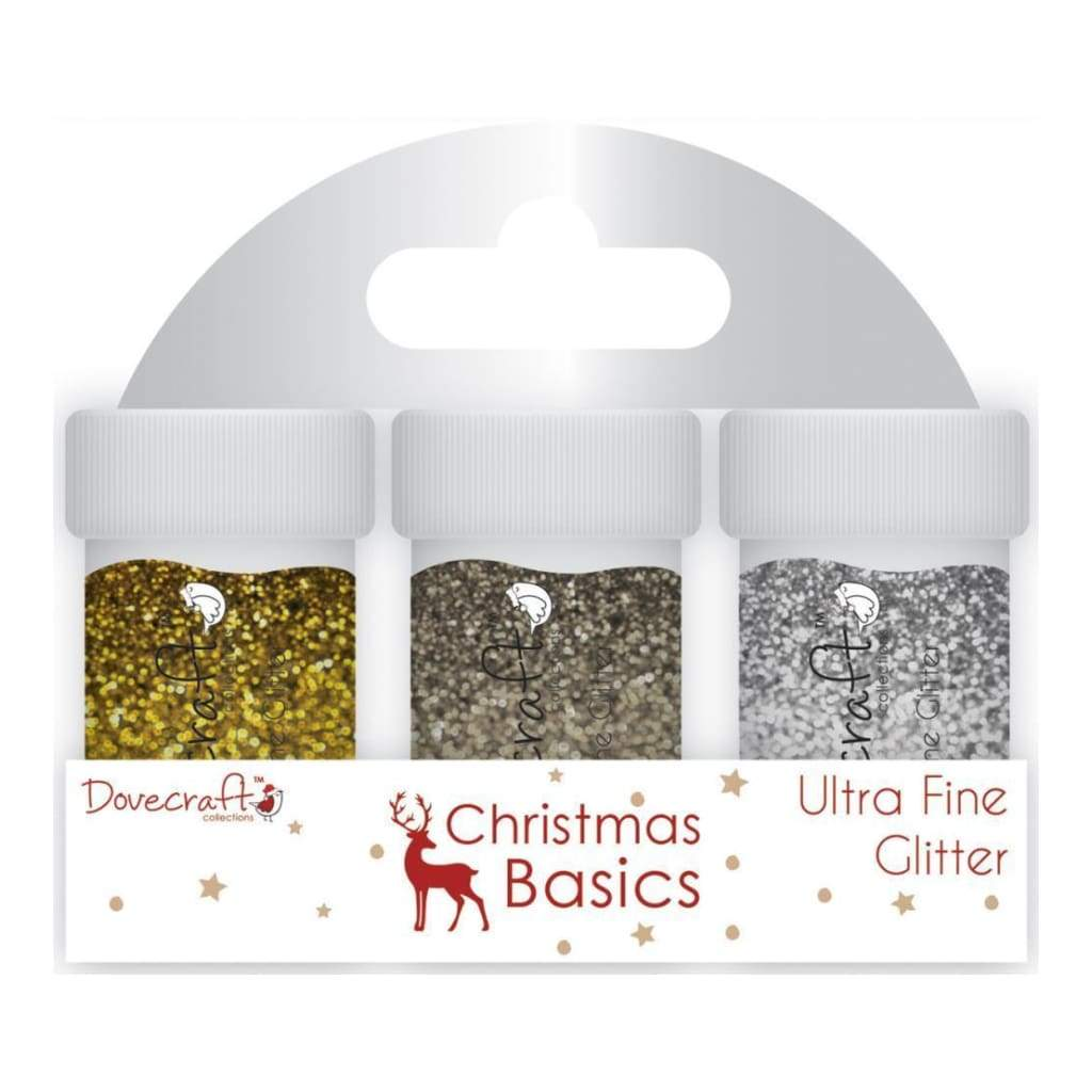 Dovecraft Christmas Basics Glitter Pots 3 pack Silver, Copper, White