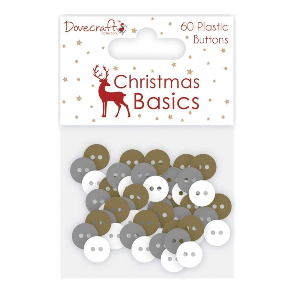Dovecraft Christmas Basics Plastic Buttons 60 pack