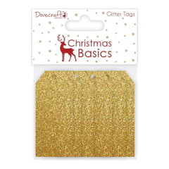 Dovecraft Christmas Basics Tags Glitter Gold