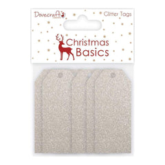 Dovecraft Christmas Basics Tags Glitter Silver