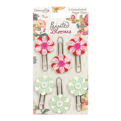 Dovecraft Painted Blooms Decorative Paper Clips 6 pack