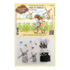 Dreamerland Crafts Mix & Match Clear Stamp Set 4 inch X3 inch - Flowers & Windmills