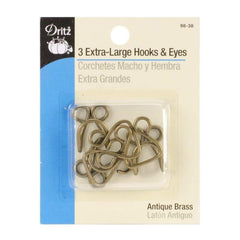 Dritz Extra Large Hooks & Eyes - Antique Brass 3 Pack