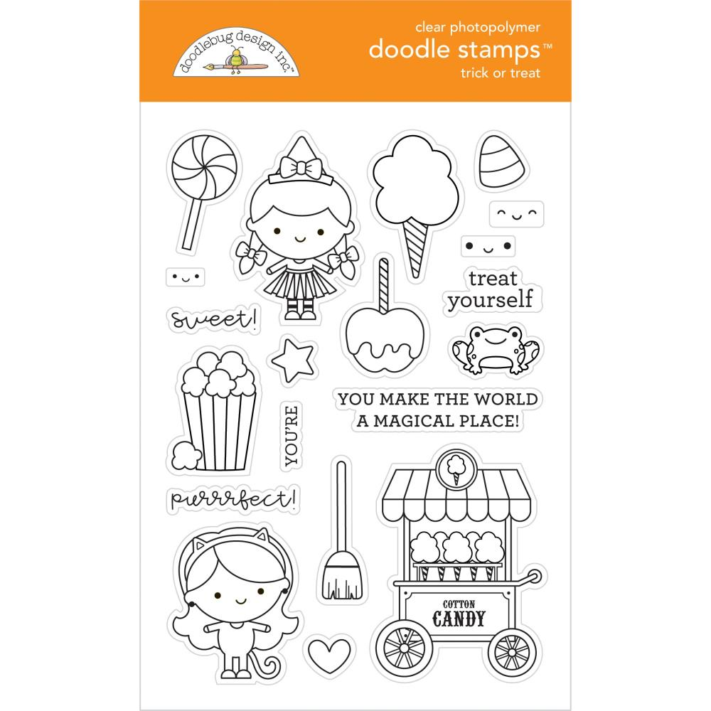 Doodlebug - Clear Doodle Stamps - Trick Or Treat, Candy Carnival