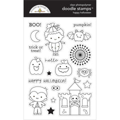 Doodlebug - Clear Doodle Stamps Happy Halloween - Candy Carnival