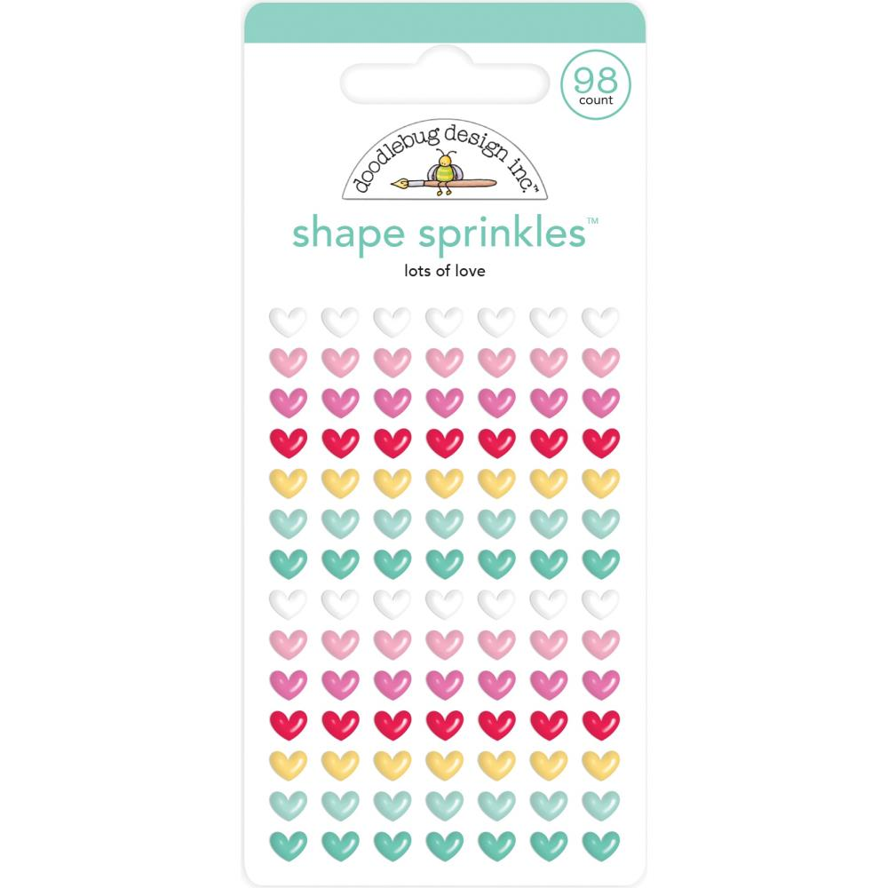 Doodlebug Sprinkles Adhesive Enamel Shapes - Lots Of Love, Love Notes