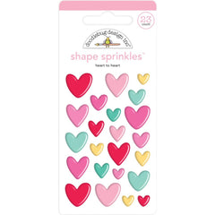 Doodlebug Sprinkles Adhesive Enamel Shapes - Heart To Heart, Love Notes
