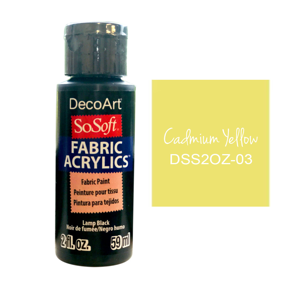 Deco Art - SoSoft Fabric Acrylic Paint 2oz - Cadmium Yellow Hue