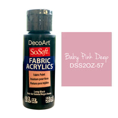 Deco Art - SoSoft Fabric Acrylic Paint 2oz - Baby Pink Deep