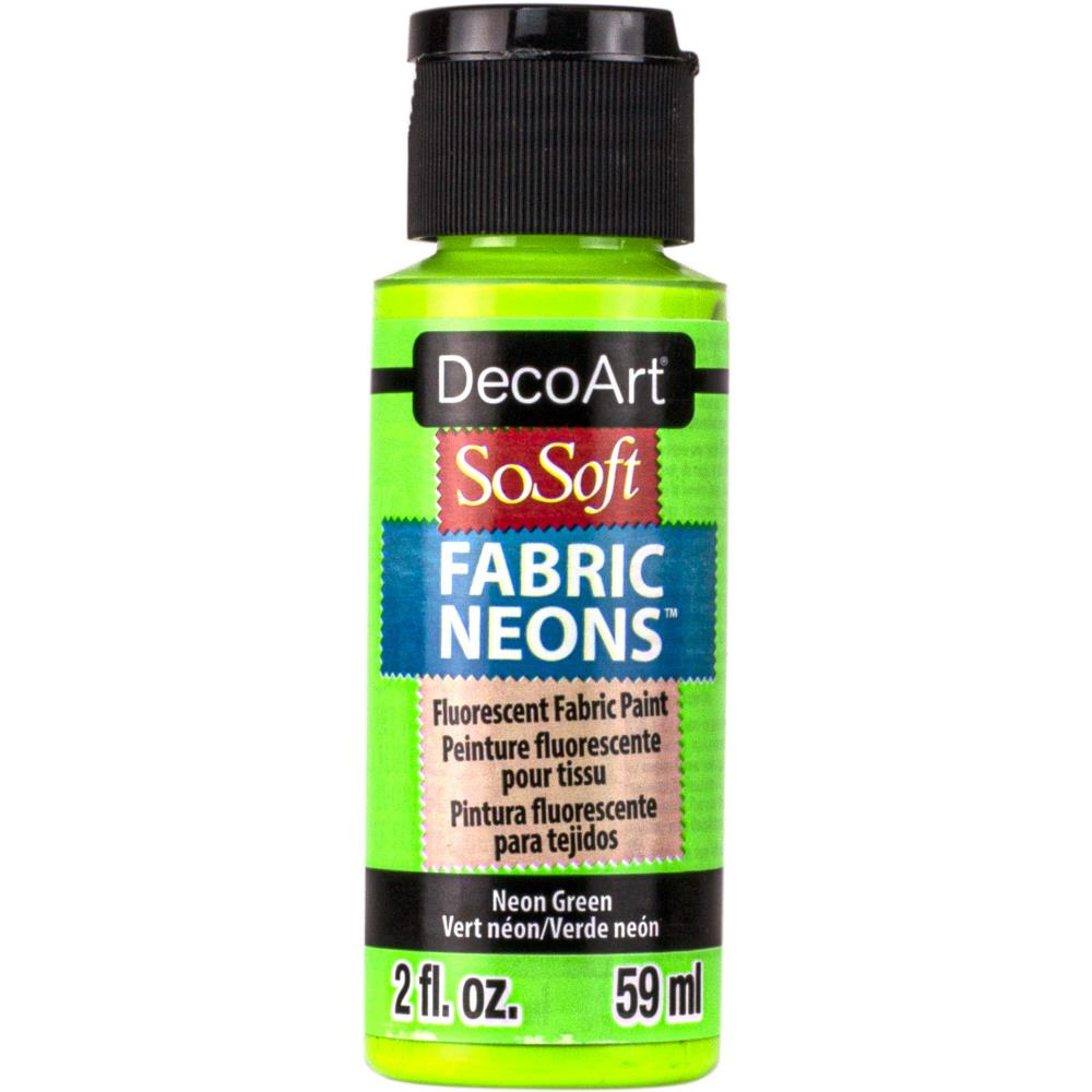 Deco Art SoSoft Fabric Neons Acrylic Paint 2oz - Neon Green