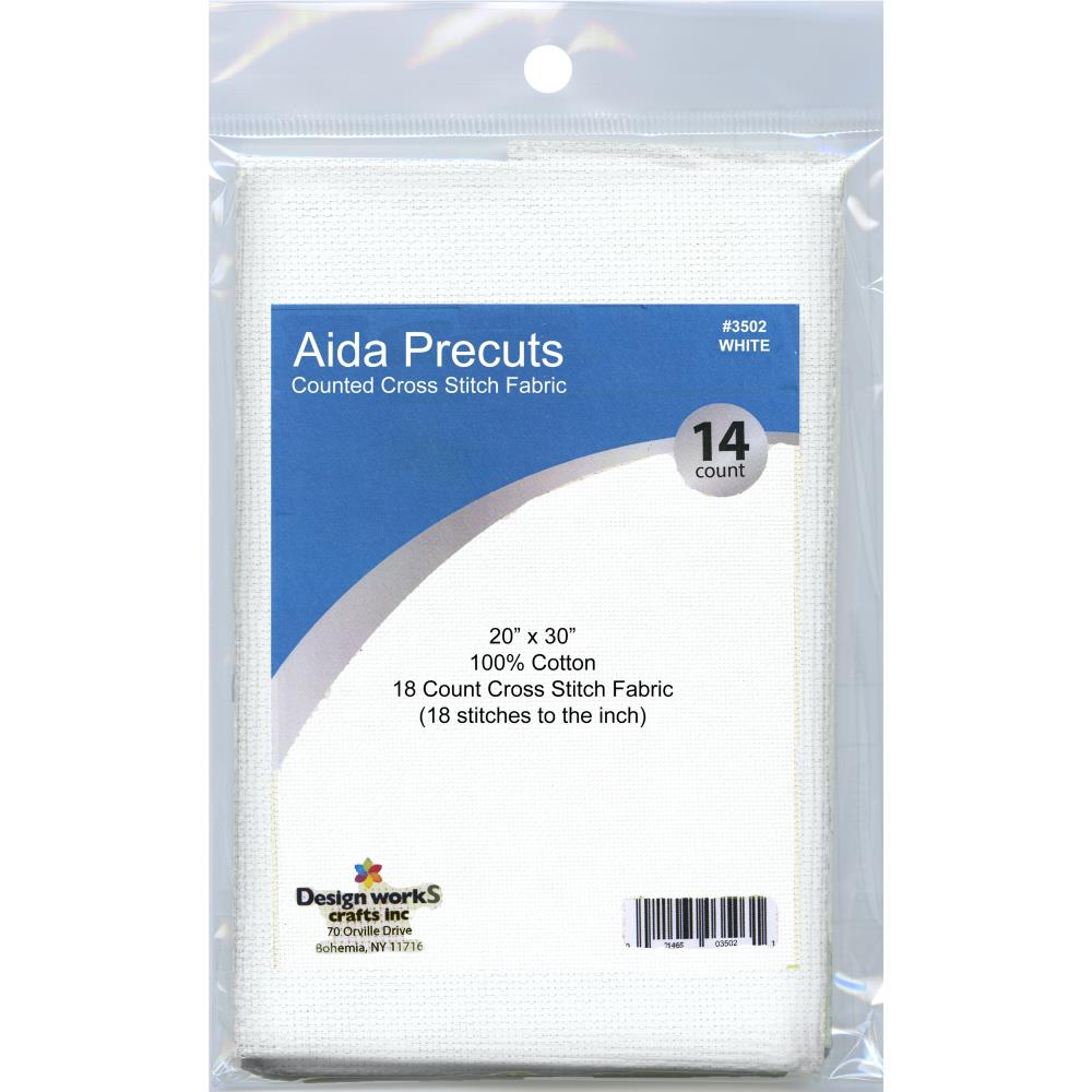 Design Works Gold Quality Aida 18 Count 20 inch X30 inch - White