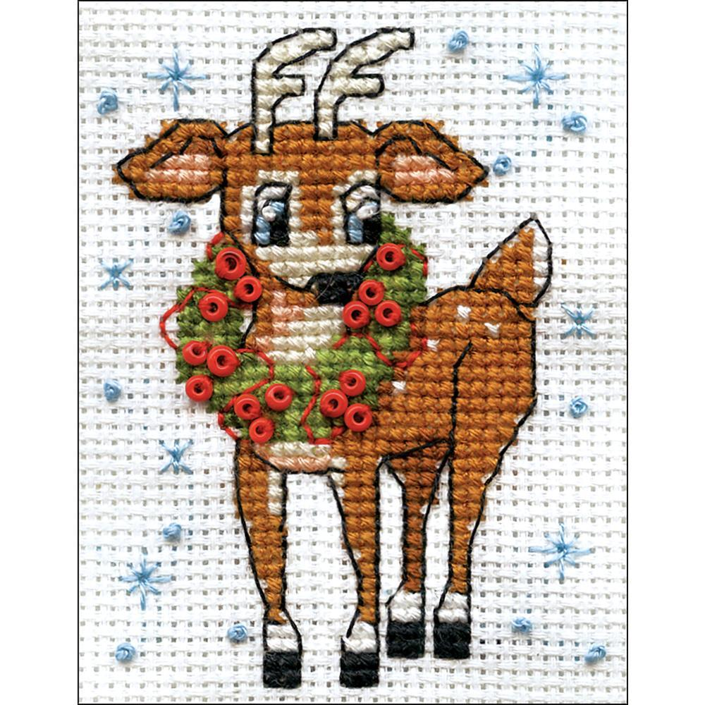 Design Works Counted Cross Stitch Kit 2inch X3inch Reindeer (14 Count)