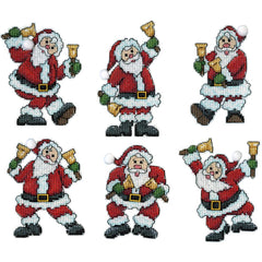 Design Works Plastic Canvas Ornament Kit 3 inchX4 inch Set Of 6 - Santa with Bells (14 Count)