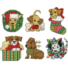 Design Works Plastic Canvas Ornament Kit 3 inchX4 inch Set Of 6 - Christmas Pups (14 Count)