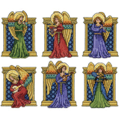 Design Works Plastic Canvas Ornament Kit 3X4 Set Of 6 Medieval Angels (14 Count)