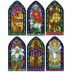 Design Works Plastic Canvas Ornament Kit 2X4 Set Of 6 Stained Glass (14 Count)