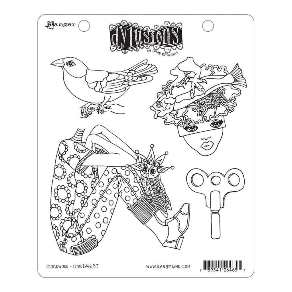 Dyan Reaveleys Dylusions Cling Stamp Collections 8.5 inch X7 inch Clockwork