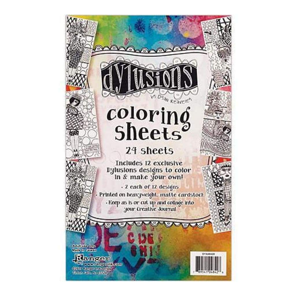 Dyan Reaveley's Dylusions Colouring Sheets 5 Inch X8 Inch  2 Each Of 12 Designs
