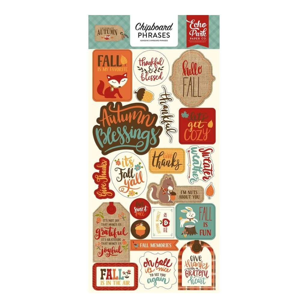 Echo Park - Celebrate Autumn Collection - Chipboard Phrases.