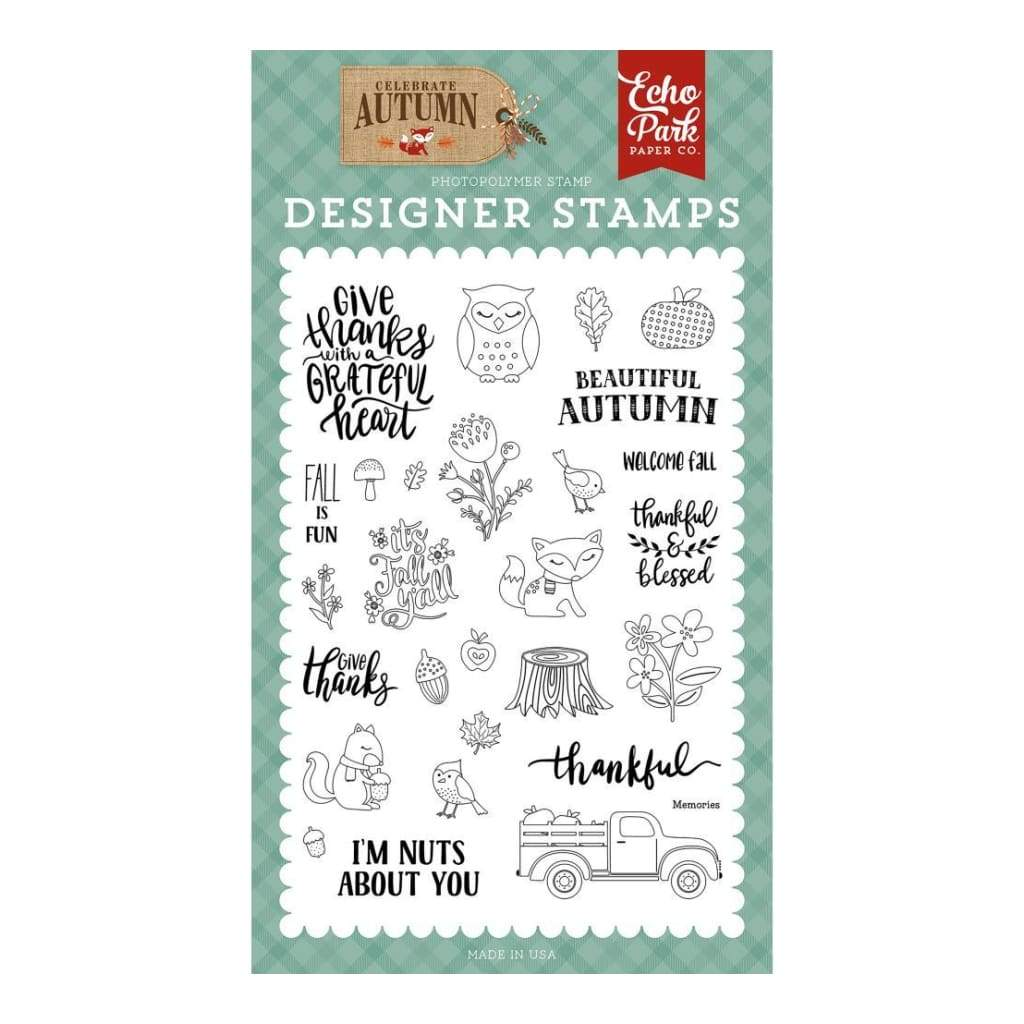 Echo Park - Celebrate Autumn Collection - Stamp Set - Nuts About You