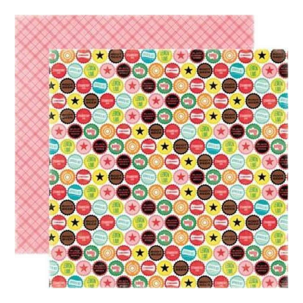 Echo Park - Happy Days - Bottle Caps 12X12 Inch Double-Sided Paper (Pack Of 10)