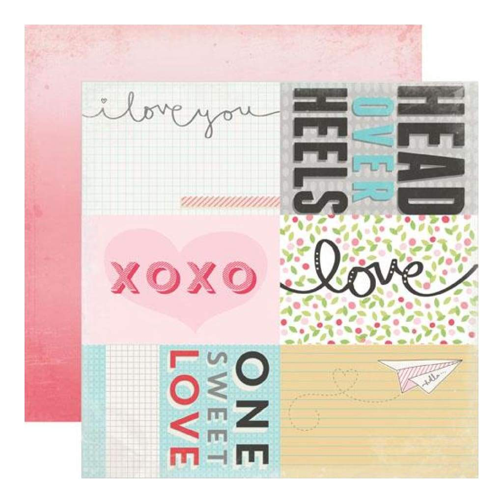 Echo Park - Head Over Heels - Journaling Cards 12x12 inch double-sided paper (single sheet)