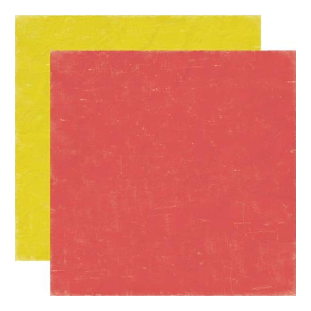 Echo Park - Paper & Glue - Red/Yellow 12x12 inch double-sided paper (single sheet)