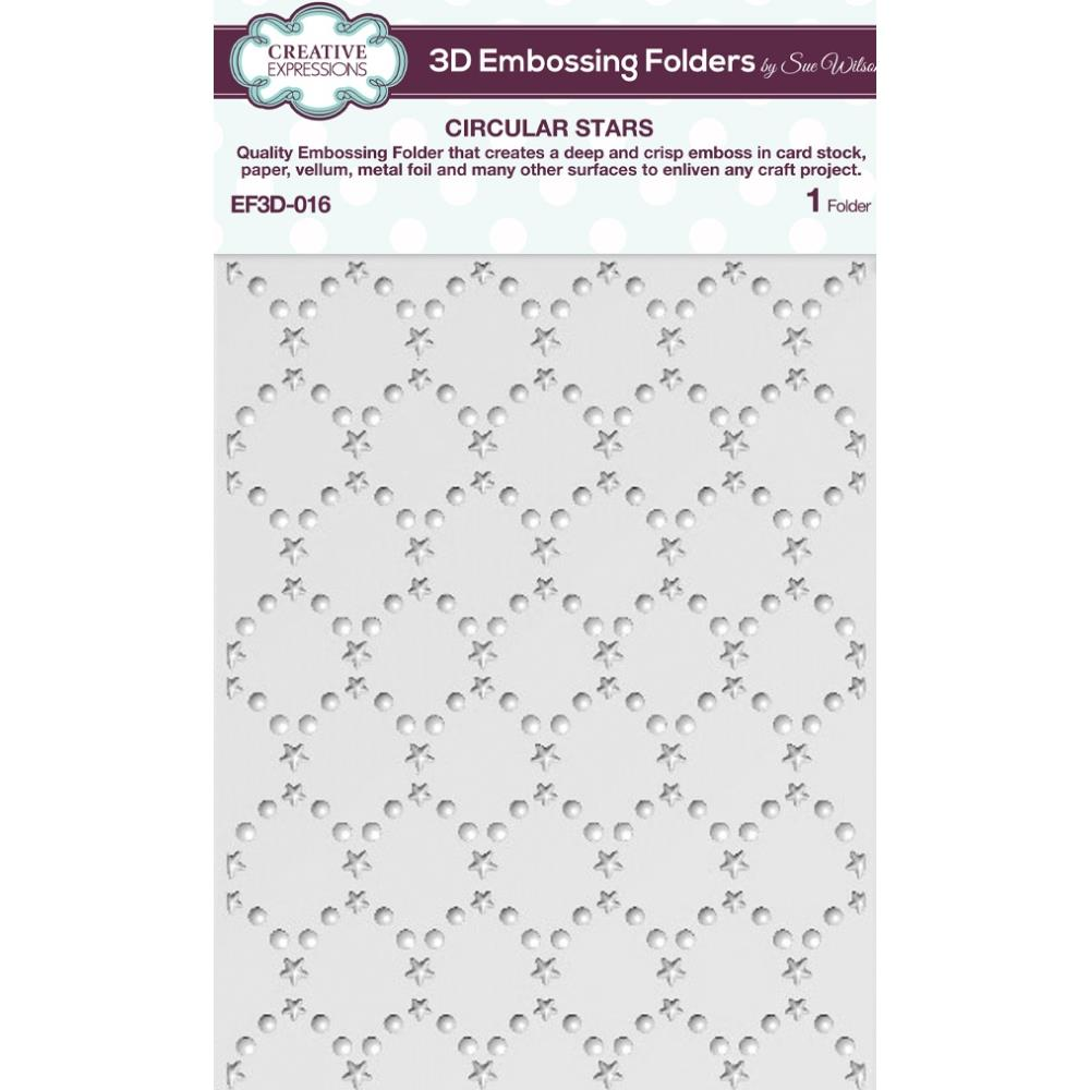 Creative Expressions 3D Embossing Folder 5.75 inch X7.5 inch - Circular Stars