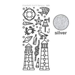 Elizabeth Craft Design - Lighthouses Peel-Off Stickers Silver