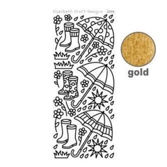 Elizabeth Craft Design - Rainy Day Peel-Off Stickers Gold