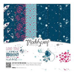 Elizabeth Craft ModaScrap Paper Pack 12 inch X12 inch 12 pack Love You To The Moon And Back