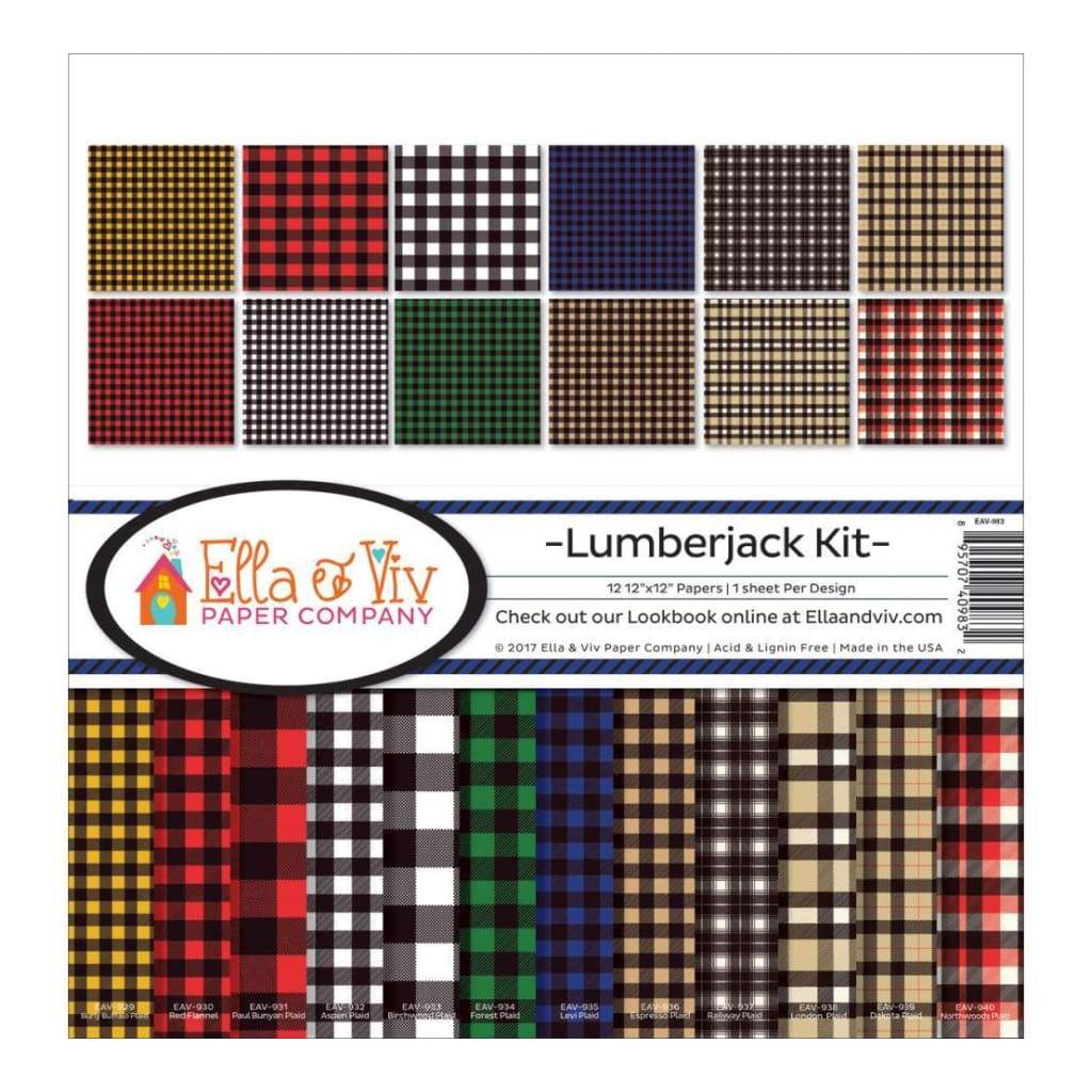 Ella & Viv Collection Kit 12X12 inch - Lumberjack, 12 Designs 1 of Each