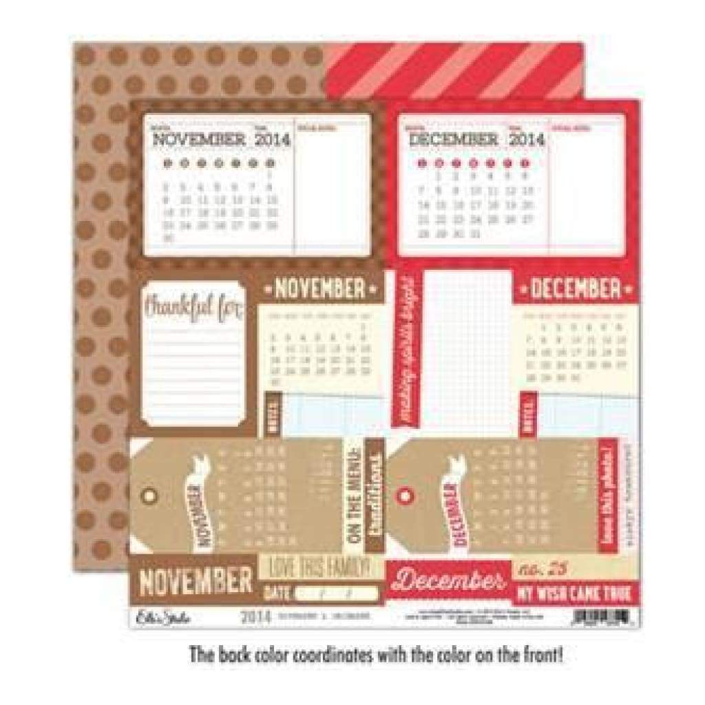 Elle's Studio - 2014 - November & December 12X12 D/Sided Paper  (Pack Of 10)