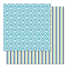 Teresa Collins - Everyday Moments 12 x 12 Cardstock - Blue Scroll