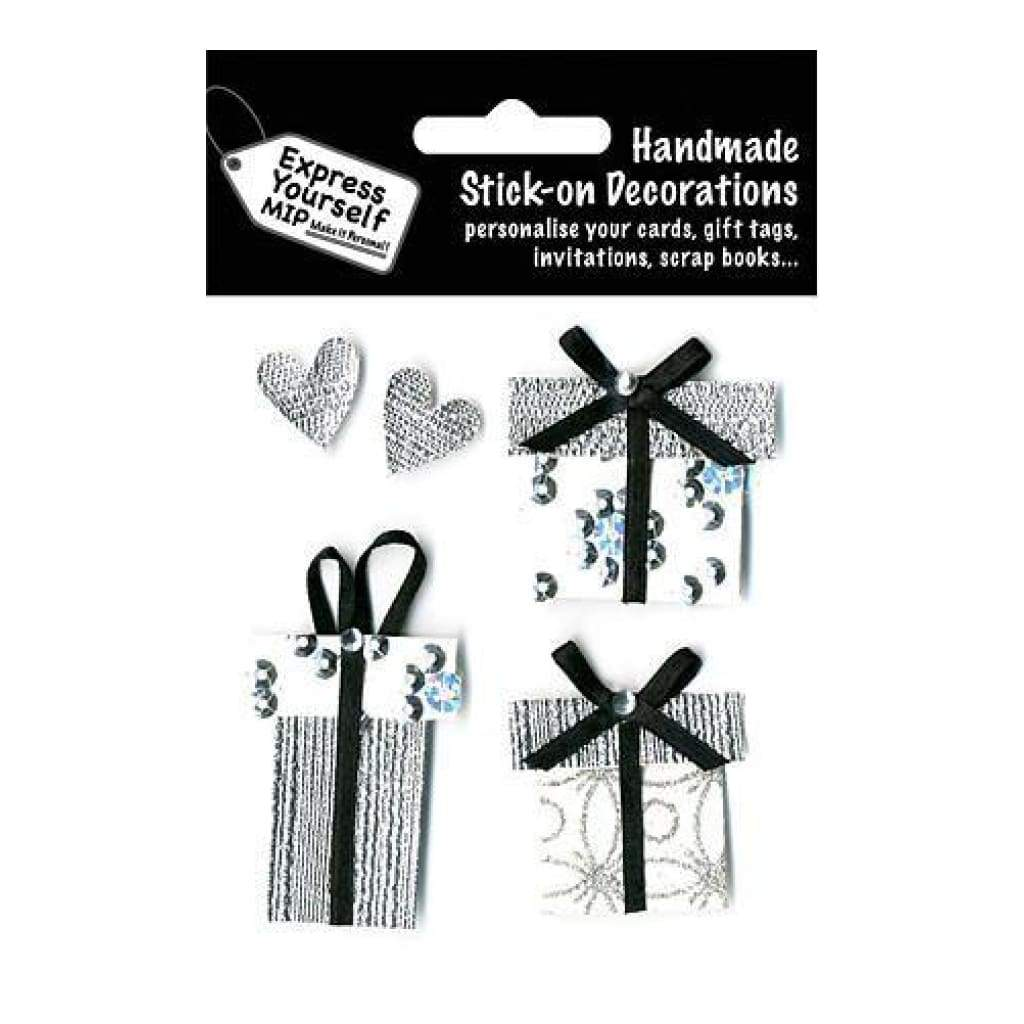 Express Yourself Mip 3-D Stickers - Silver Gift Boxes & Hearts