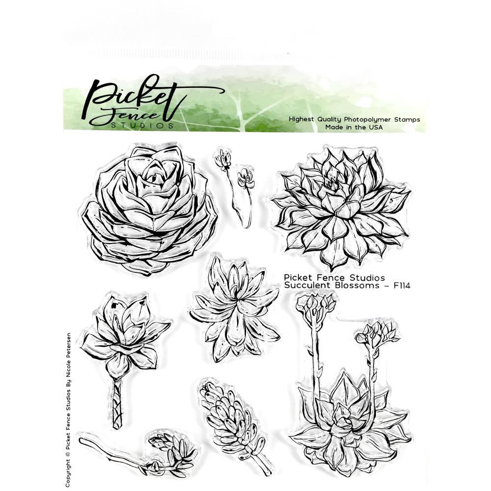 Picket Fence Studios 6inch X6inch Stamp Set Succulent Blossoms