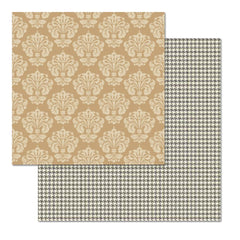 "Teresa Collins - Fabrications Canvas Double-Sided Cardstock 12""X12"" - Tan Damask"