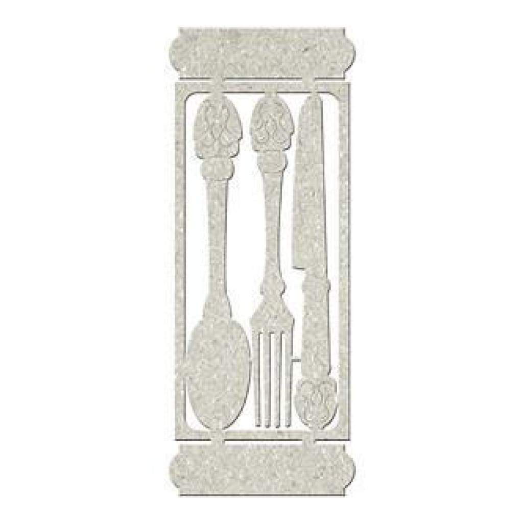 Fabscraps - Die-Cut Gray Chipboard Embellishments Knife Fork & Spoon; 6Inch X2inch